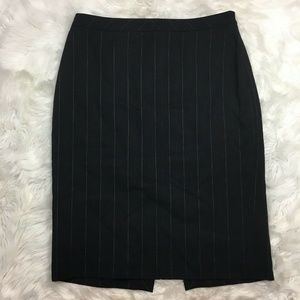 Ann Taylor Pencil Skirt Navy Blue Striped Size 4